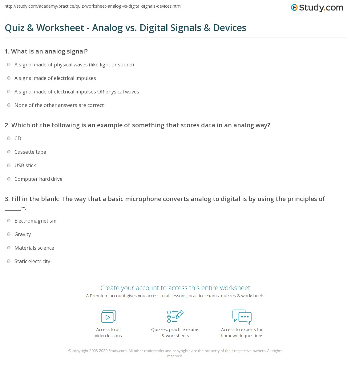 Quiz Worksheet Analog Vs Digital Signals Devices Study