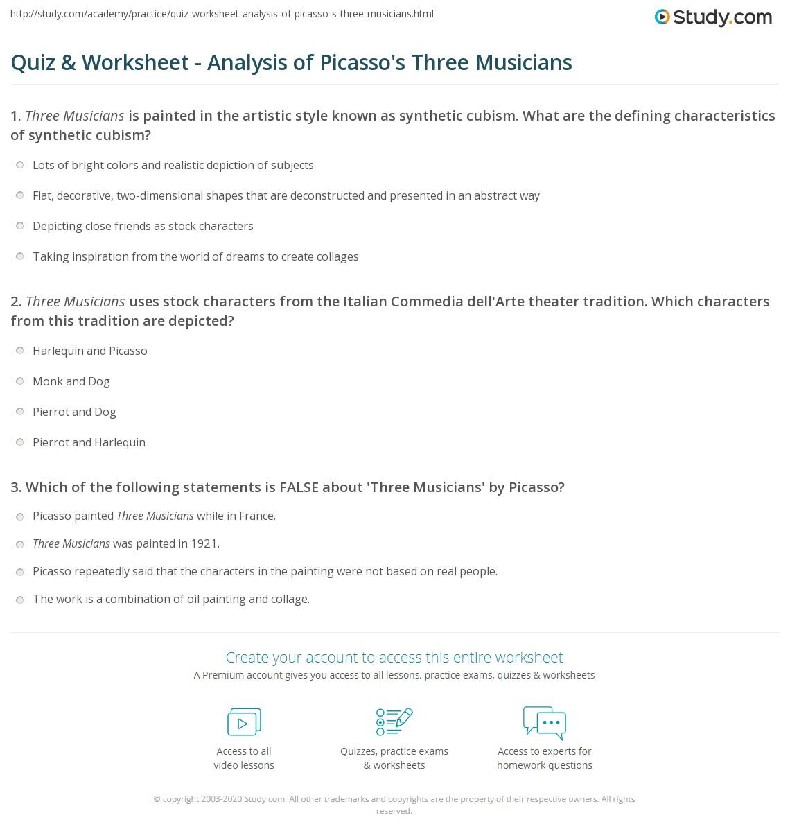 Quiz & Worksheet - Analysis of Picasso's Three Musicians   Study.com