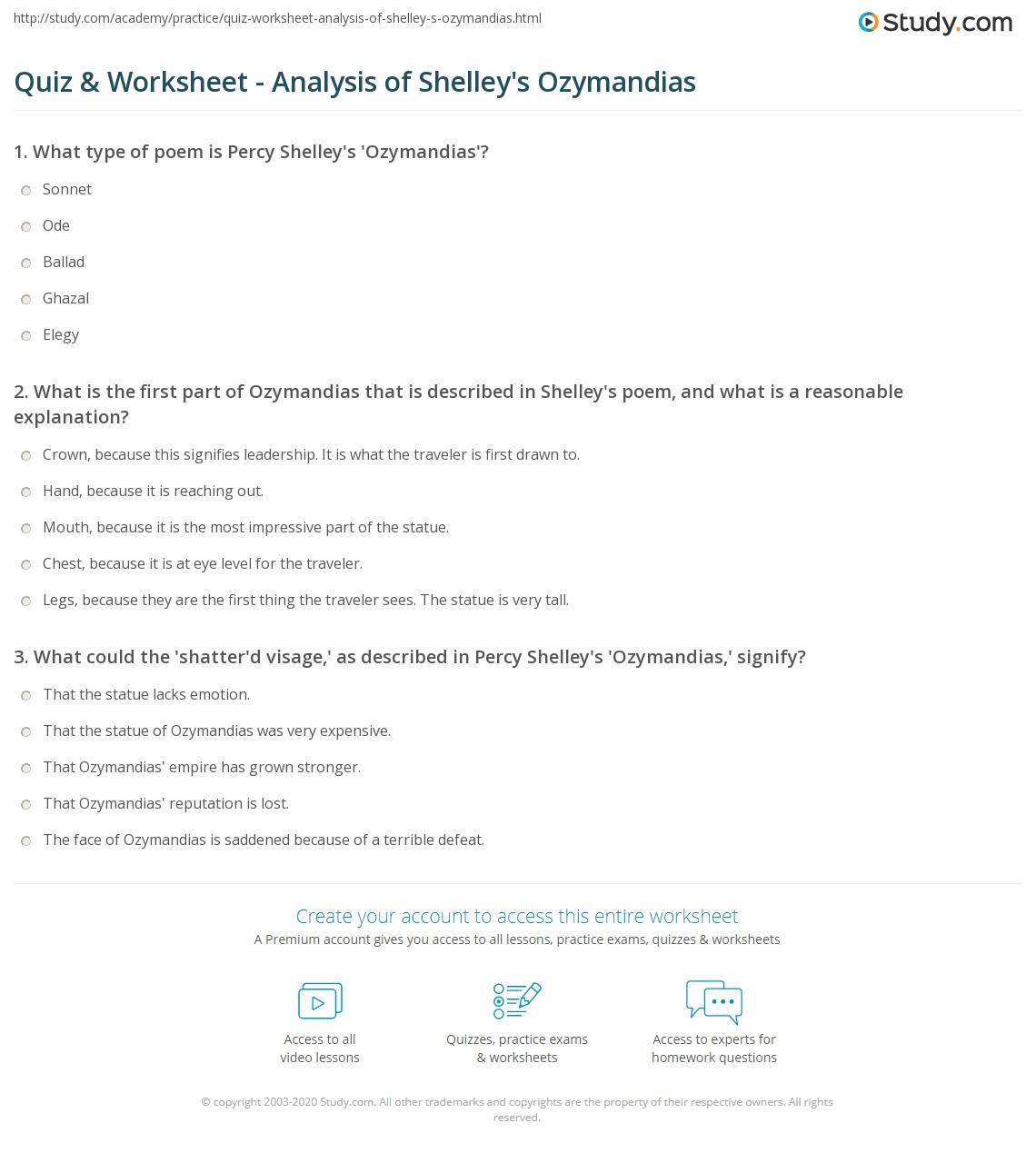 quiz worksheet analysis of shelley s ozymandias com print percy shelley s ozymandias analysis and themes worksheet