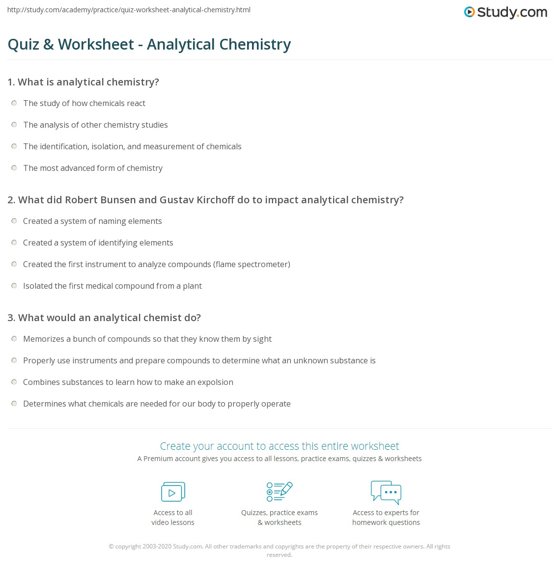Worksheets Chemistry Review Worksheets quiz worksheet analytical chemistry study com print what is definition impact worksheet