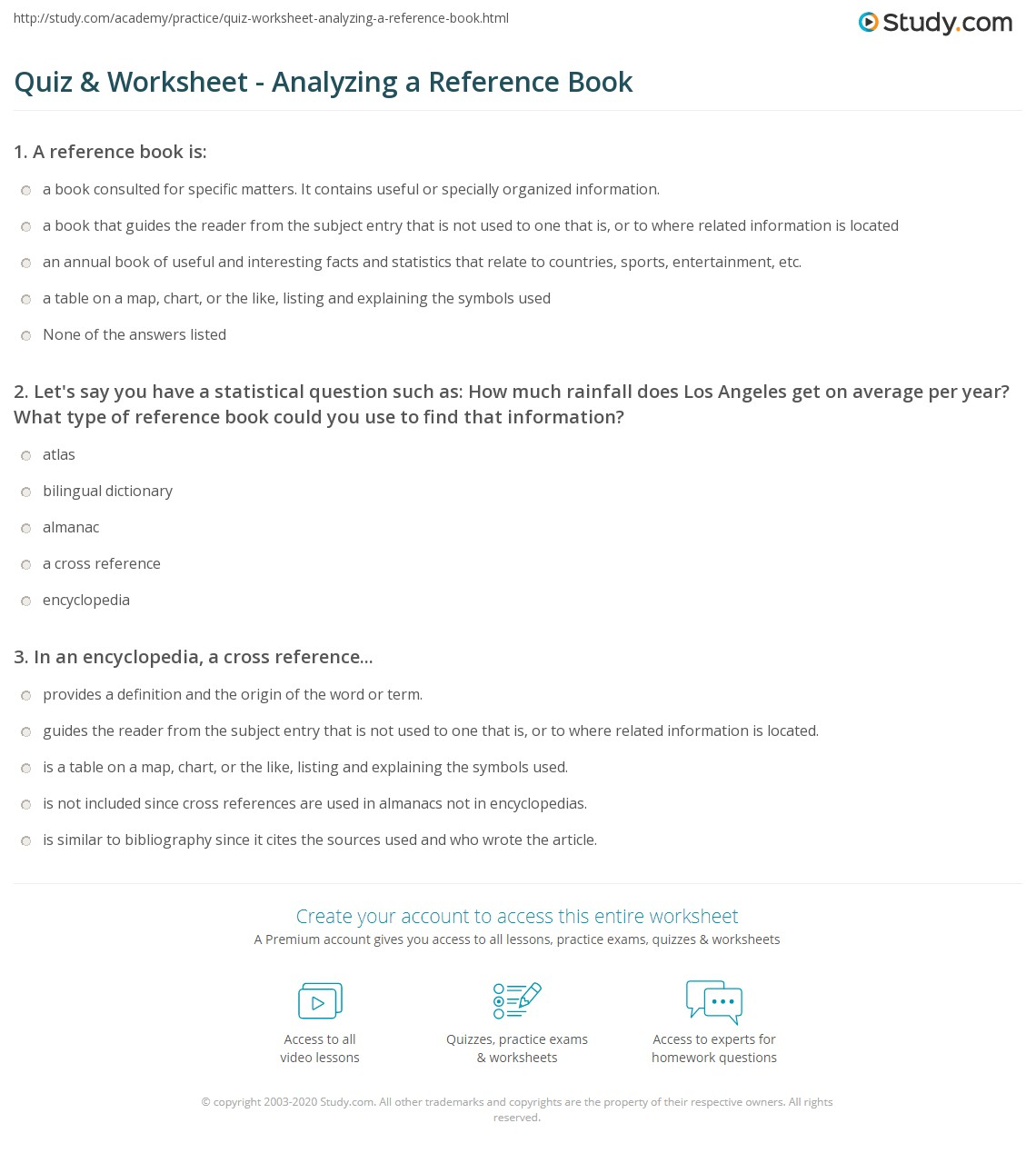 Quiz Worksheet Analyzing a Reference Book – Reference Sources Worksheets