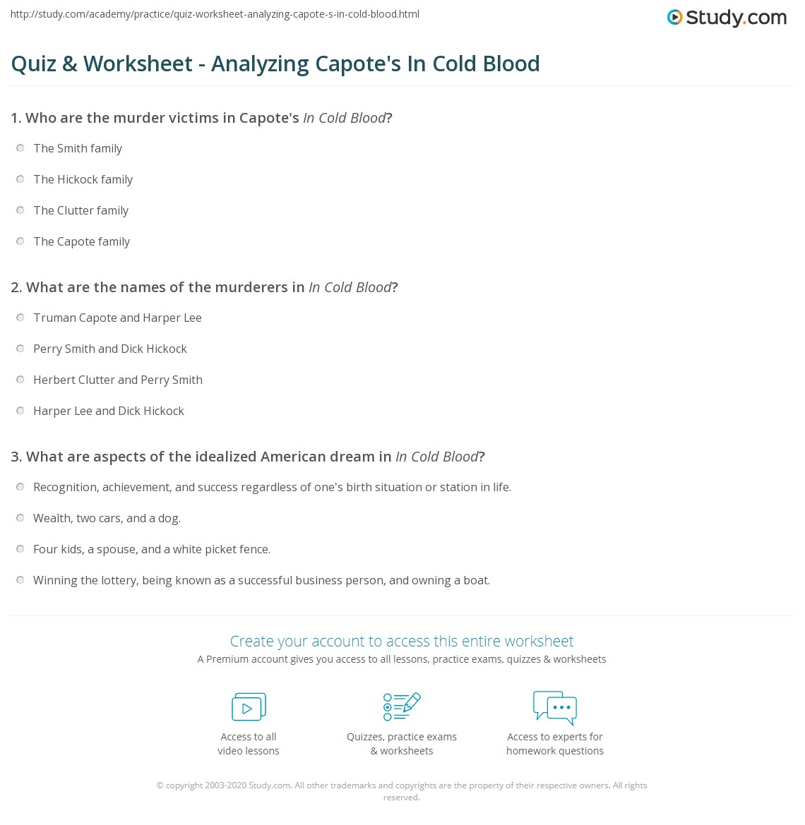 quiz worksheet analyzing capote s in cold blood com print capote s in cold blood themes analysis worksheet