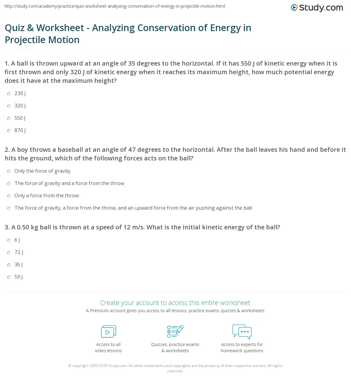 Quiz Worksheet Analyzing Conservation Of Energy In Projectile