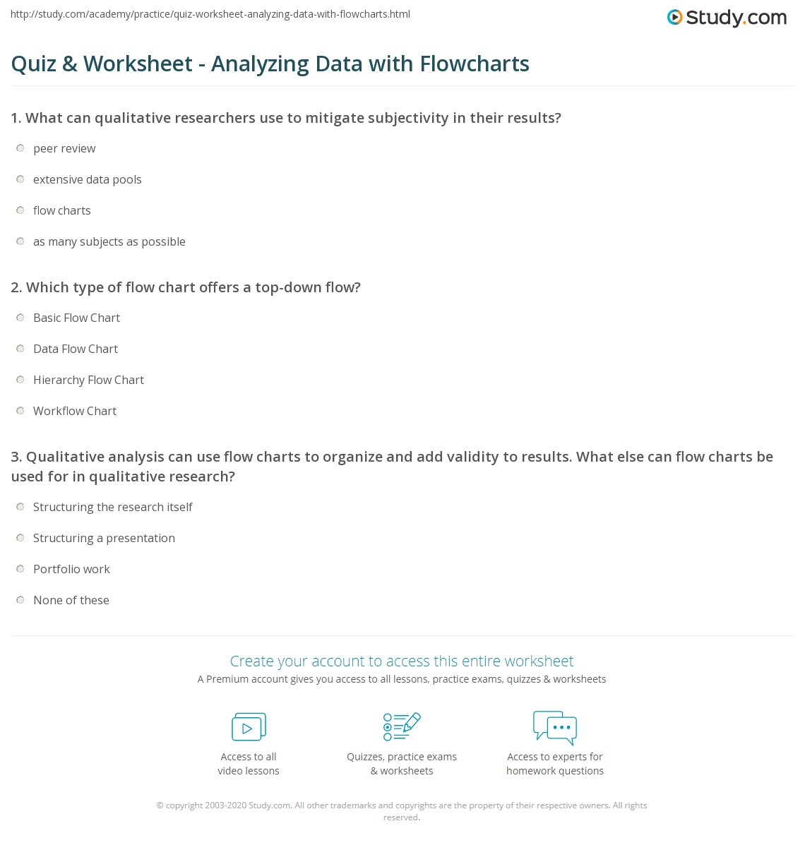 Quiz worksheet analyzing data with flowcharts study which type of flow chart offers a top down flow nvjuhfo Images