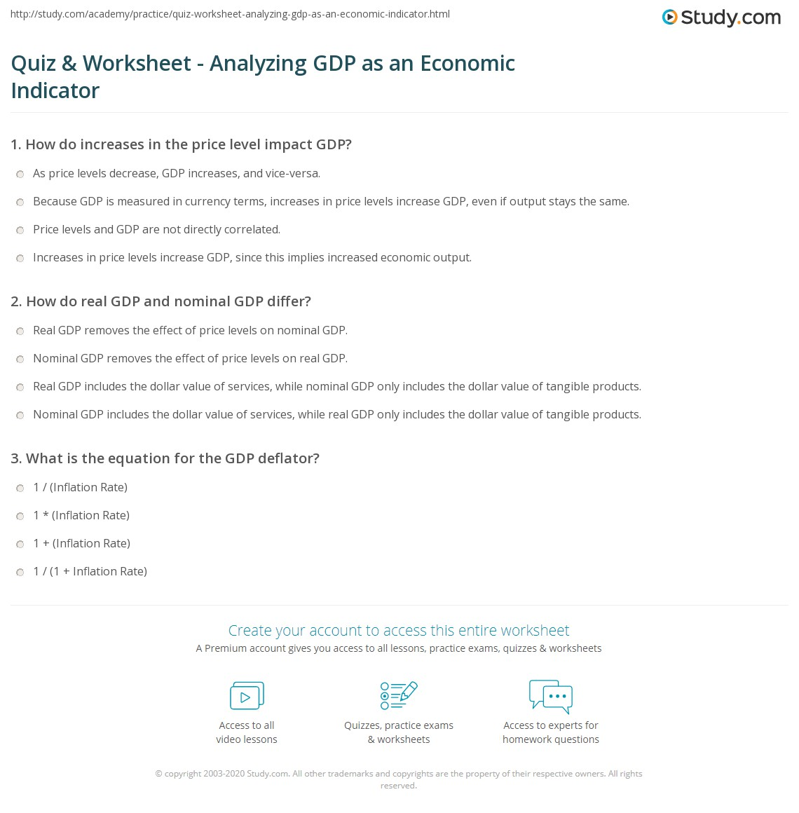 quiz worksheet analyzing gdp as an economic indicator. Black Bedroom Furniture Sets. Home Design Ideas