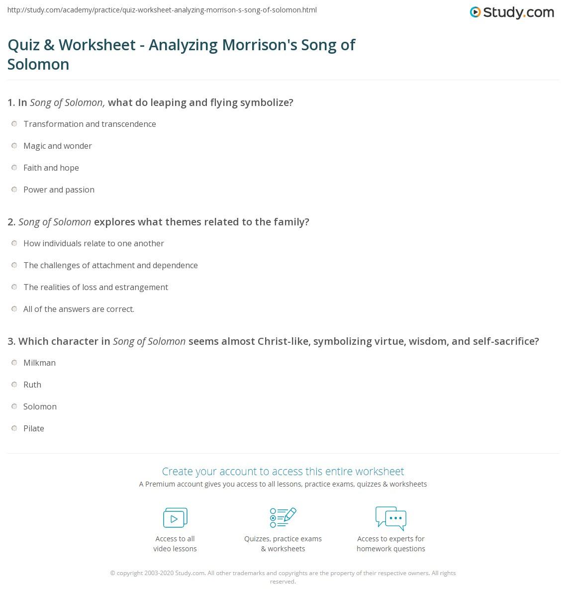 Worksheets Song Analysis Worksheet quiz worksheet analyzing morrisons song of solomon study com print by toni morrison themes analysis worksheet