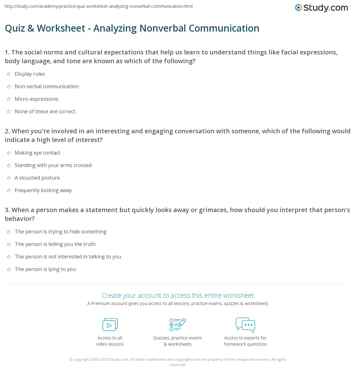 nonverbal communication codes worksheet