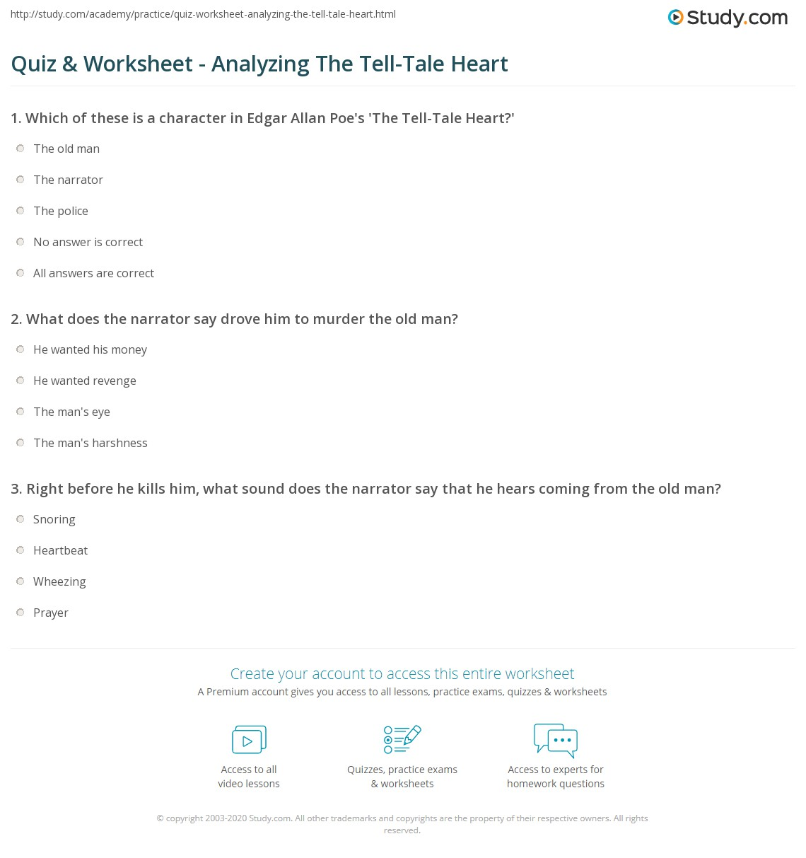 Quiz Worksheet Analyzing The Tell Tale Heart Study