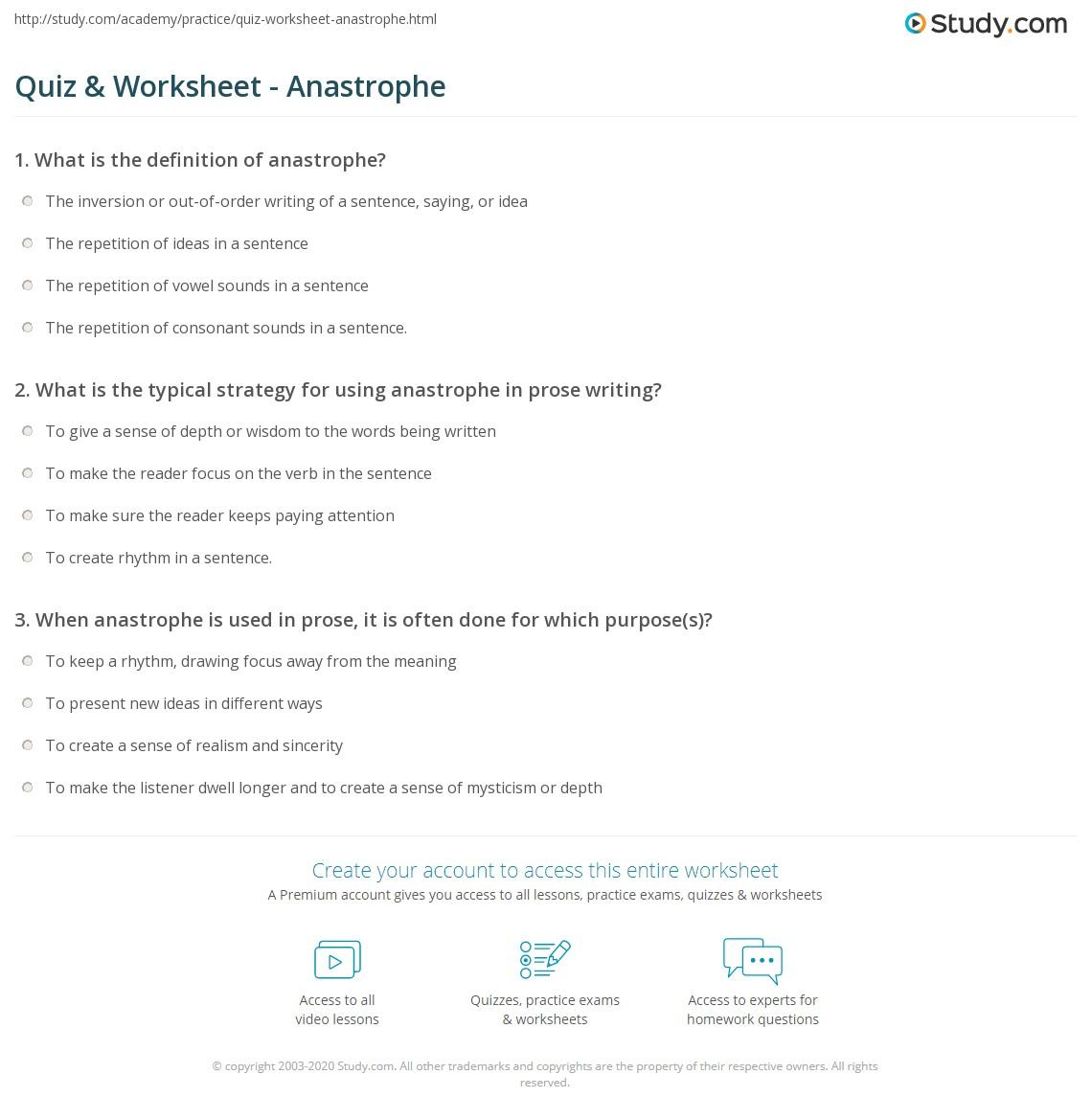 Quiz Worksheet Anastrophe Study