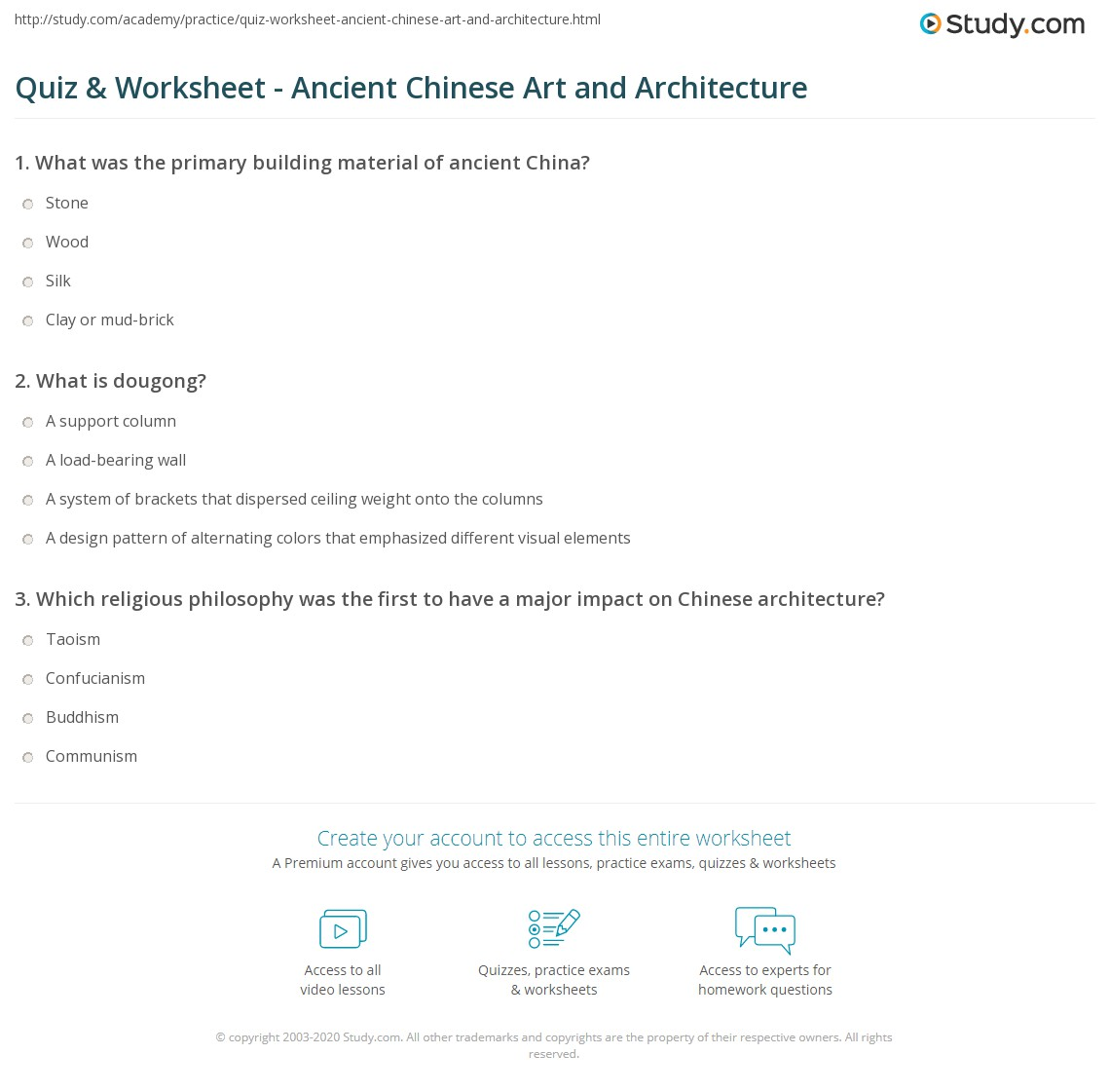 quiz worksheet ancient chinese art and architecture study com