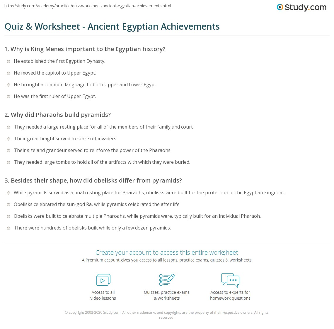 what were the main achievements of the ancient egyptians