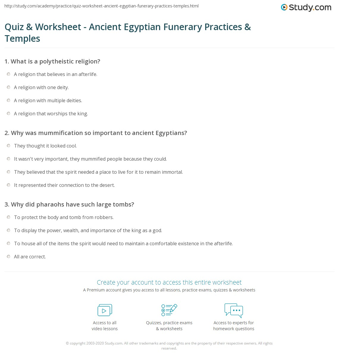 worksheet Ancient Egypt Worksheet quiz worksheet ancient egyptian funerary practices temples print beliefs in egypt worksheet