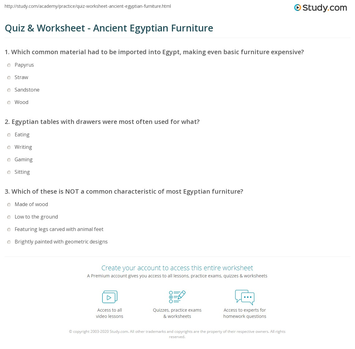 Ancient egyptian furniture - Print Ancient Egyptian Furniture History Design Worksheet