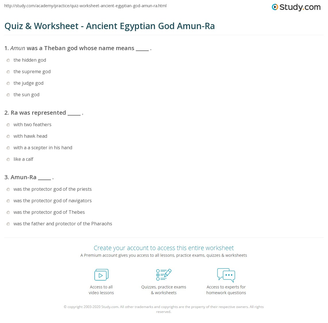 Quiz worksheet ancient egyptian god amun ra study print amun ra temple hieroglyphics facts worksheet buycottarizona