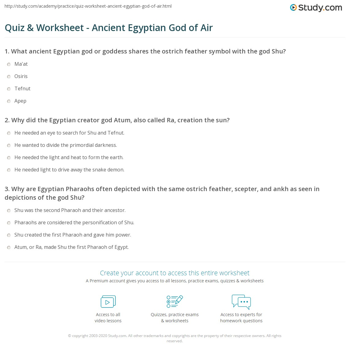 Quiz Worksheet Ancient Egyptian God Of Air Study