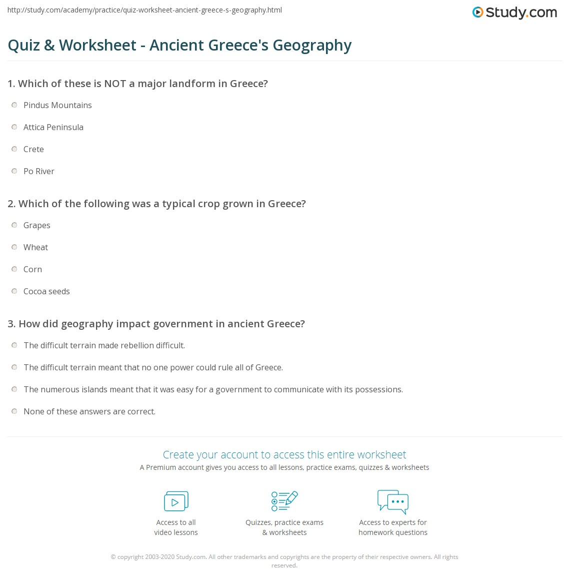 Quiz & Worksheet - Ancient Greece's Geography | Study.com