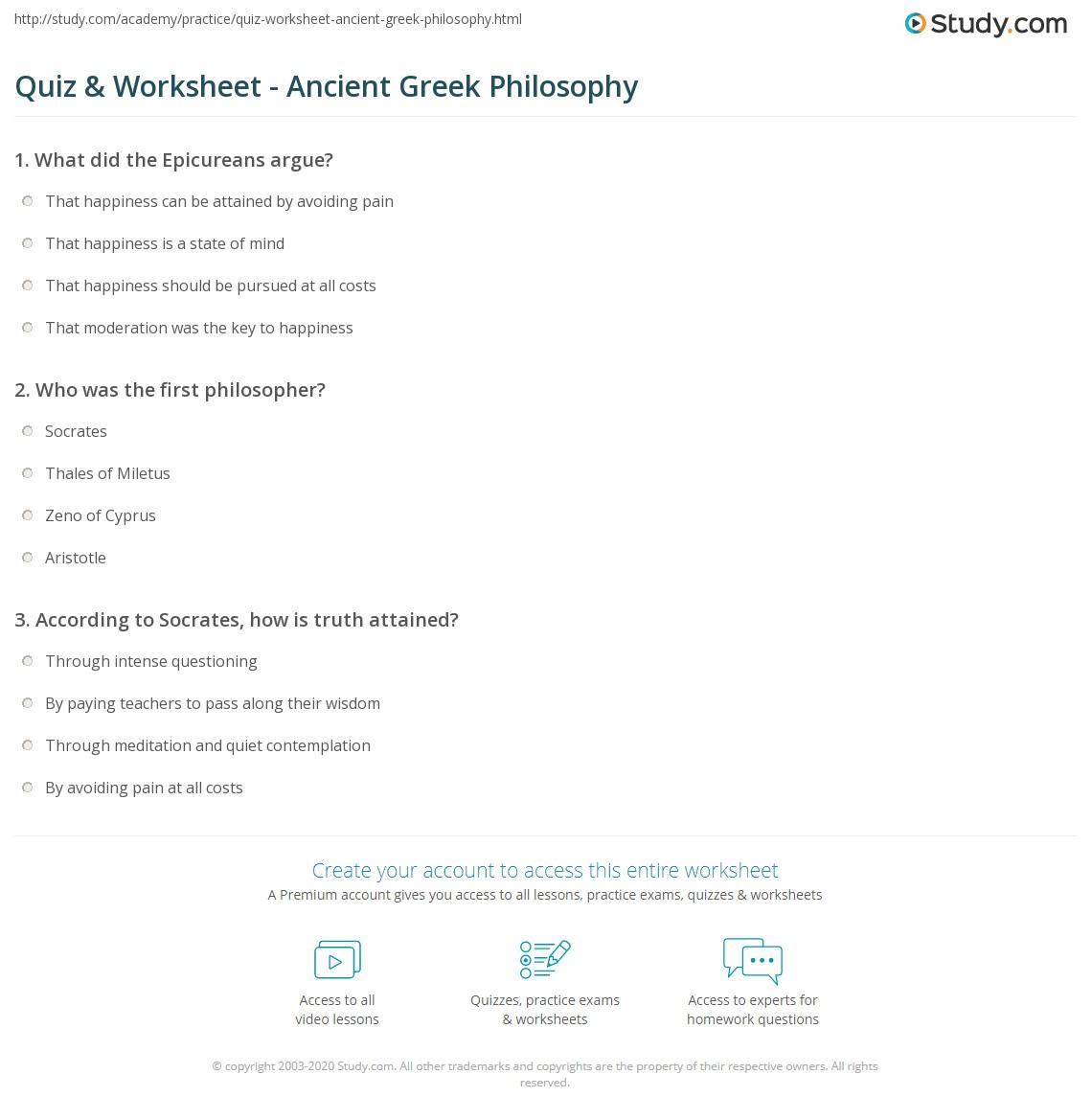 Worksheets Greek Worksheets quiz worksheet ancient greek philosophy study com print history influence timeline worksheet