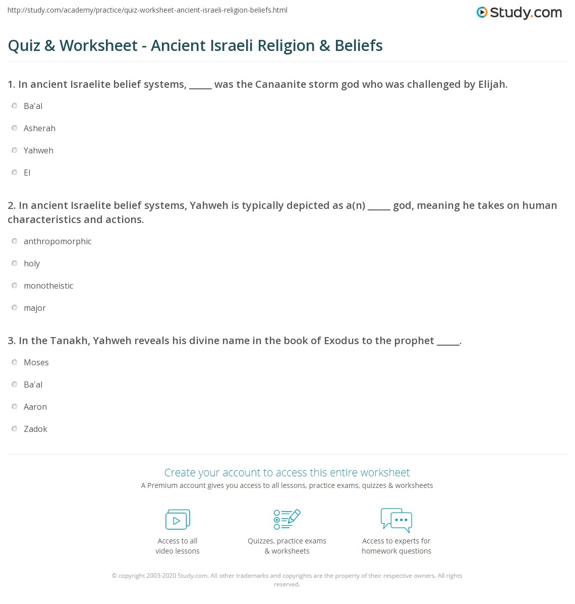 Quiz & Worksheet - Ancient Israeli Religion & Beliefs | Study com