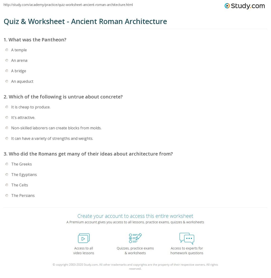quiz worksheet ancient roman architecture. Black Bedroom Furniture Sets. Home Design Ideas