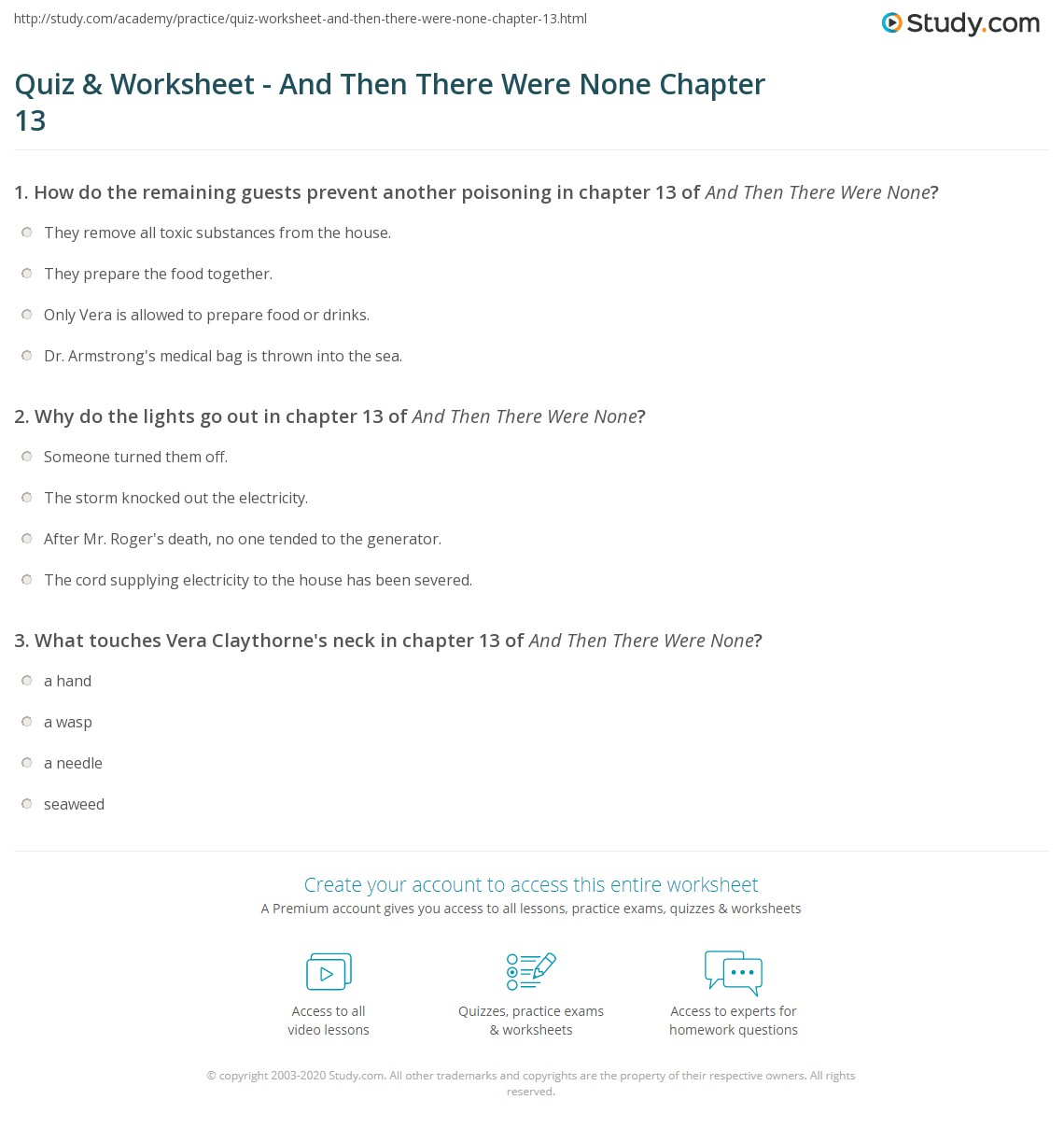 Worksheets Chapter 13 Worksheet quiz worksheet and then there were none chapter 13 study com print summary worksheet