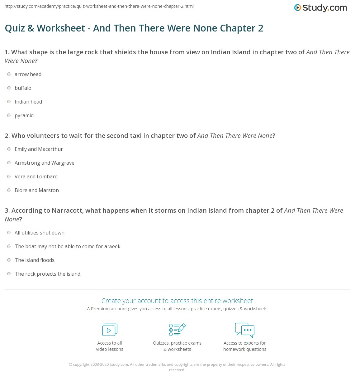 Quiz & Worksheet - And Then There Were None Chapter 2   Study.com