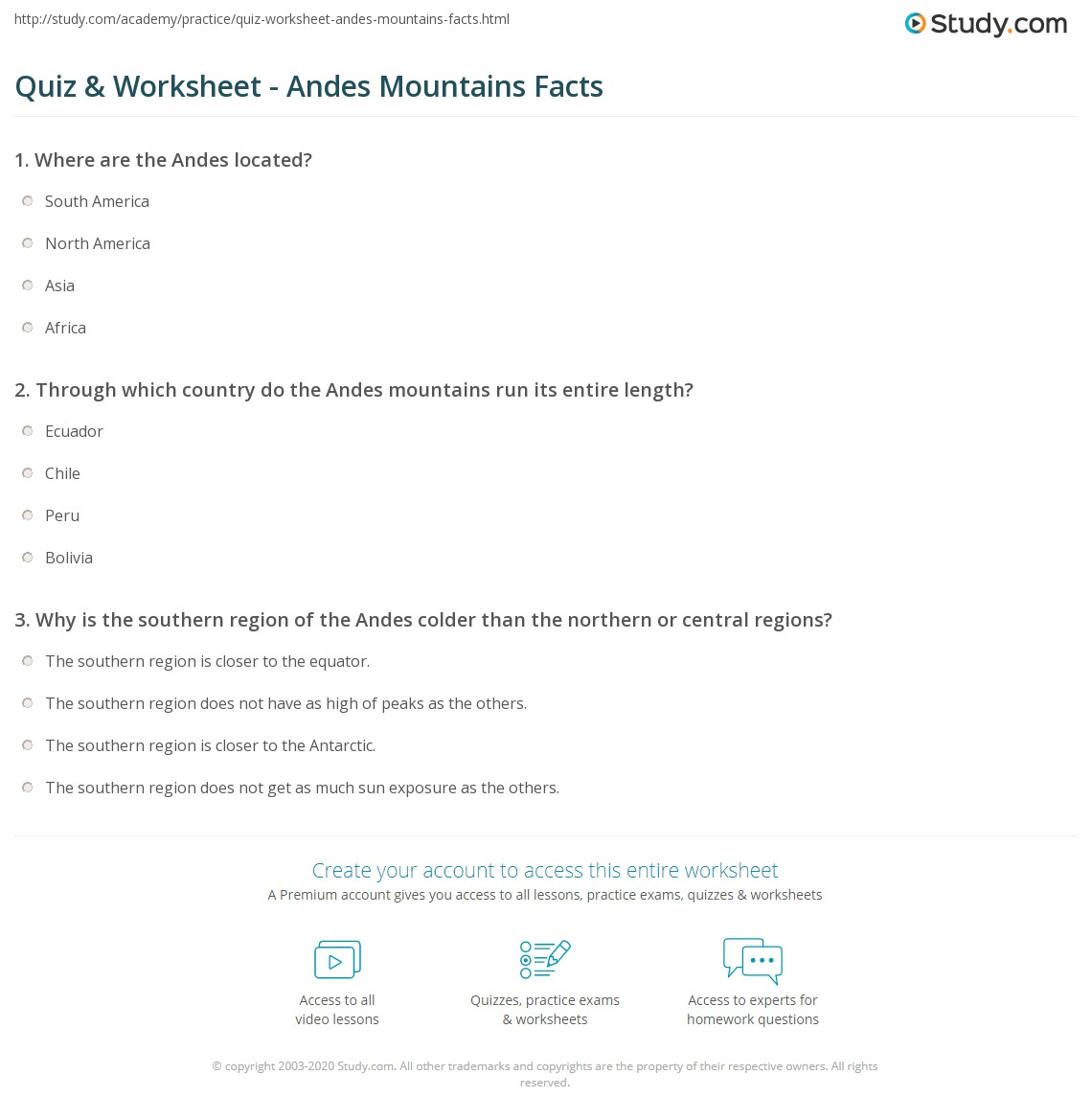 Quiz Worksheet Andes Mountains Facts – Latitude Longitude Printable Worksheets
