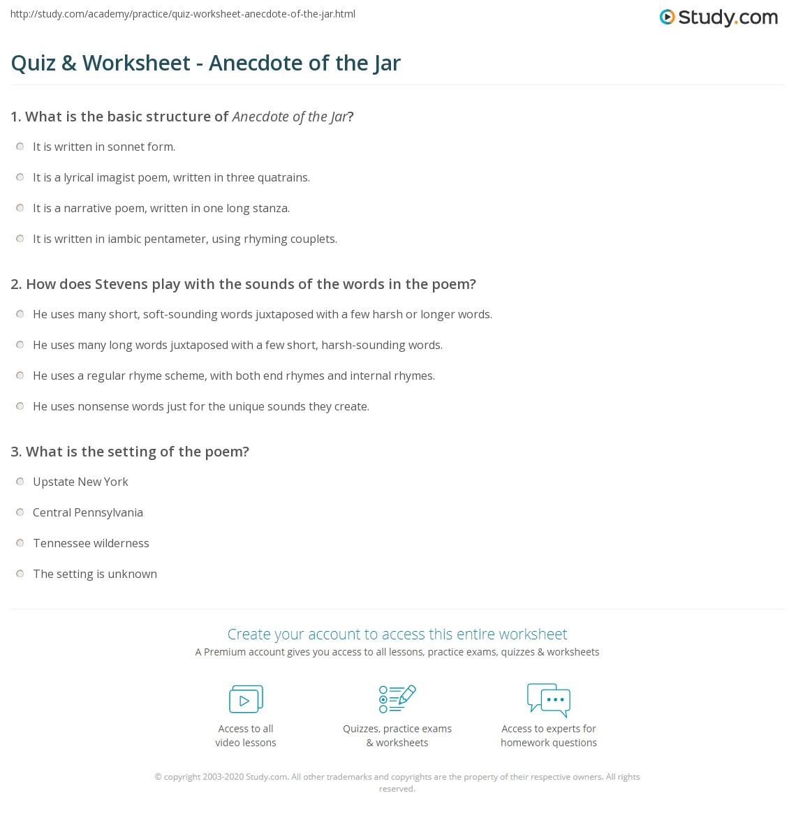 Quiz Worksheet Anecdote Of The Jar Studycom
