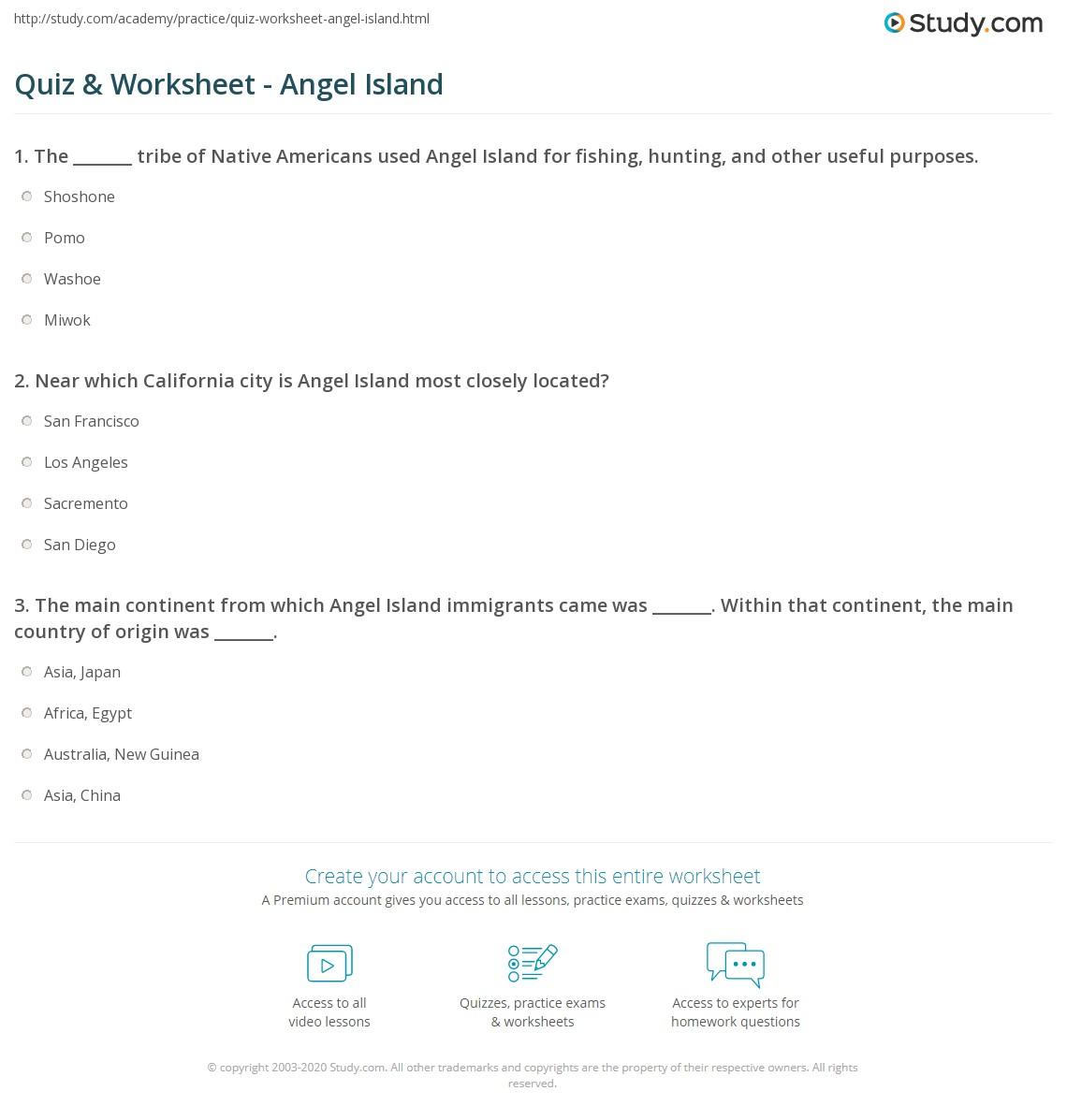 Quiz & Worksheet - Angel Island   Study.com