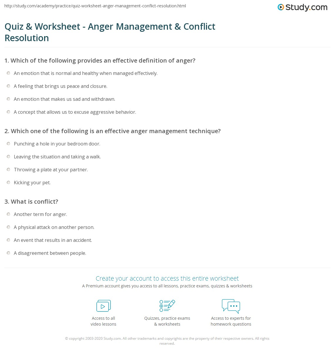 photo about Anger Management Quiz Printable identify Quiz Worksheet - Anger Regulate Conflict Remedy