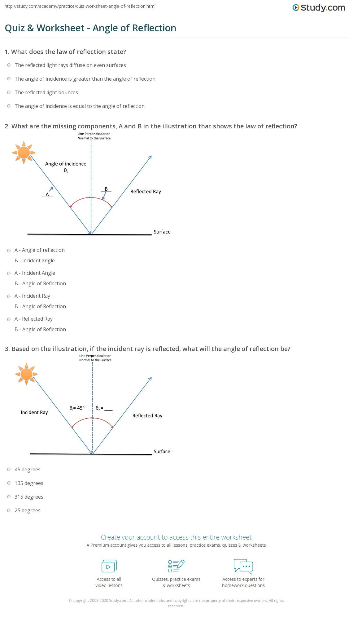 Quiz Worksheet Angle of Reflection – Reflection Worksheets