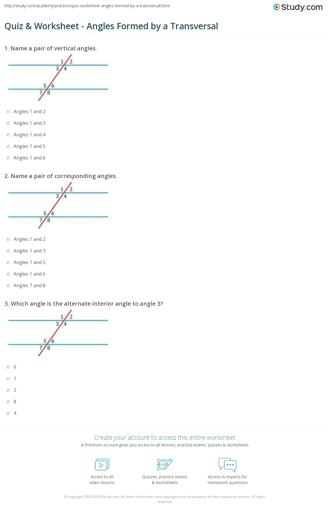 Quiz worksheet angles formed by a transversal study print angles formed by a transversal worksheet fandeluxe Choice Image
