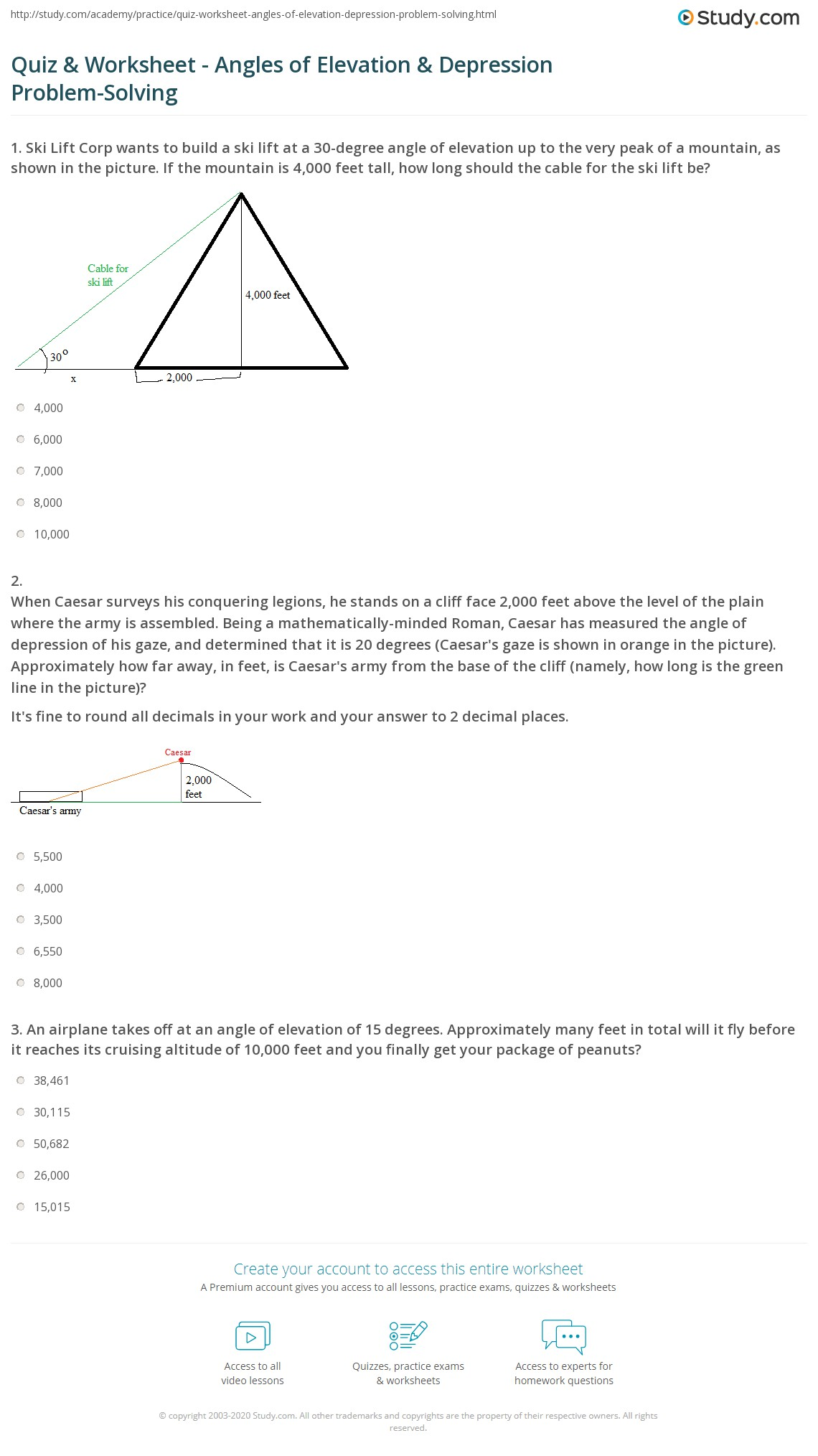 lesson 10-3 problem solving angles of elevation and depression
