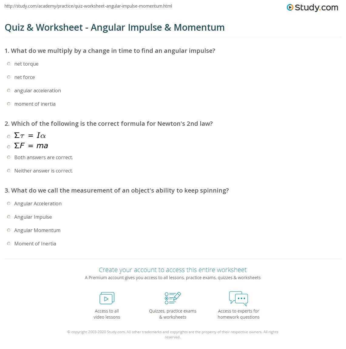 Quiz & Worksheet - Angular Impulse & Momentum | Study.com