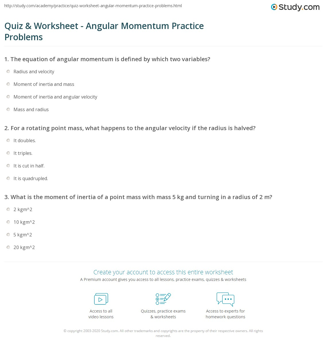 worksheet Momentum Problems Worksheet quiz worksheet angular momentum practice problems study com print worksheet