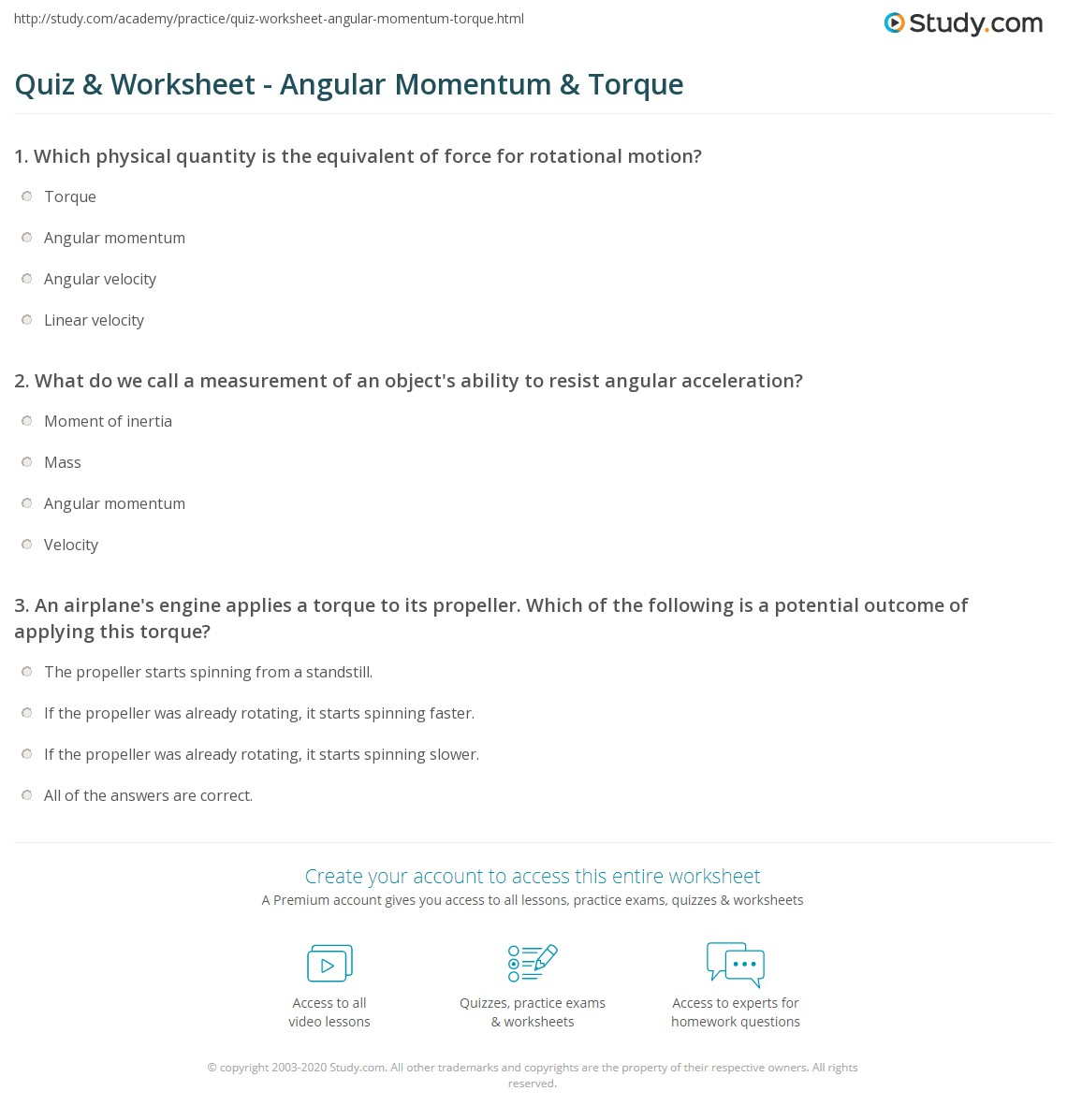 quiz worksheet angular momentum torque. Black Bedroom Furniture Sets. Home Design Ideas