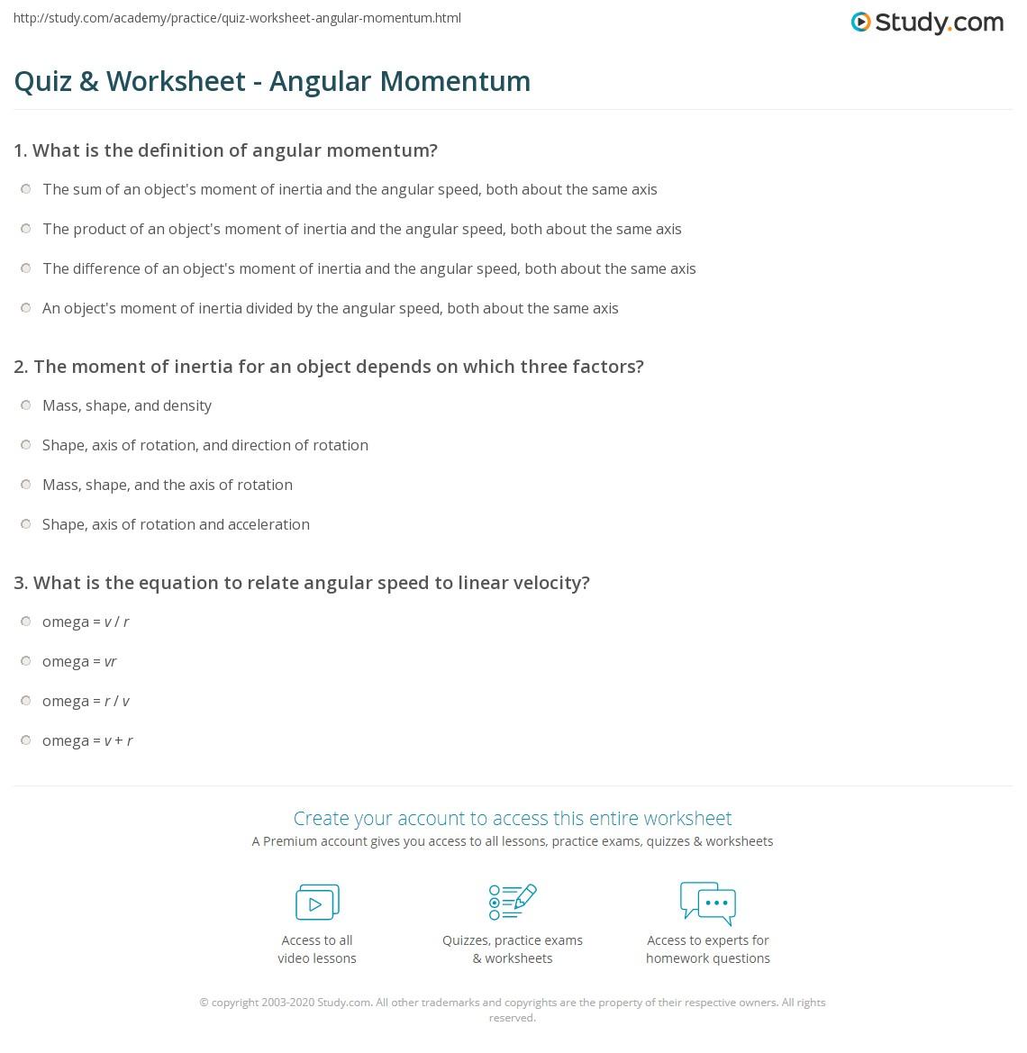 Quiz Worksheet Angular Momentum Study Com
