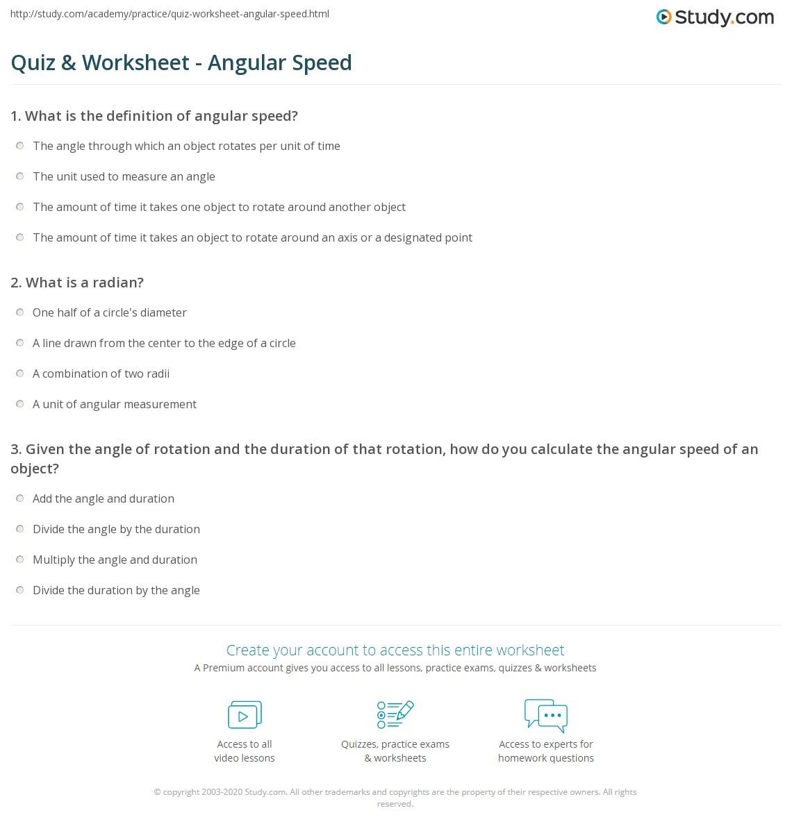 Quiz & Worksheet - Angular Speed   Study.com