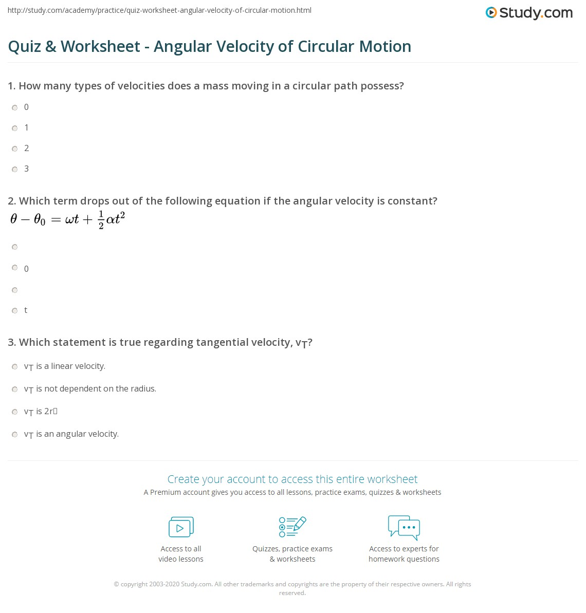 quiz worksheet angular velocity of circular motion. Black Bedroom Furniture Sets. Home Design Ideas