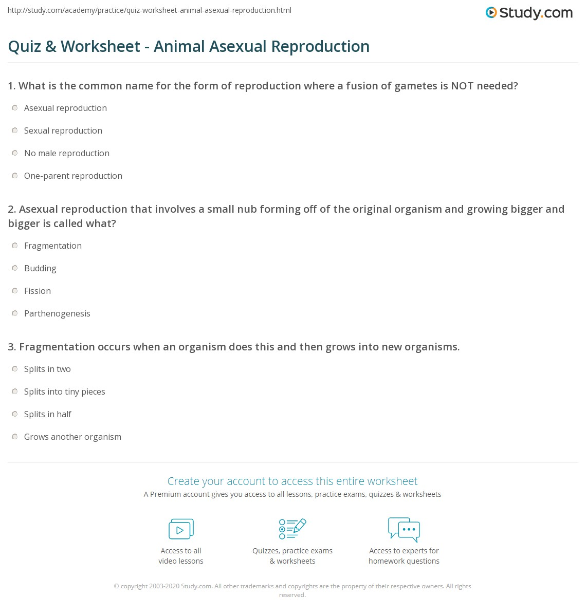 List all types of asexual reproduction quiz
