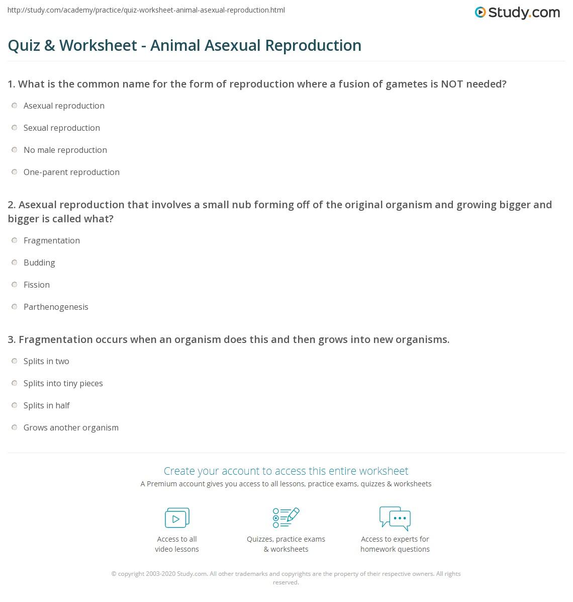 Free Worksheet Animal Science Worksheets quiz worksheet animal asexual reproduction study com print worksheet