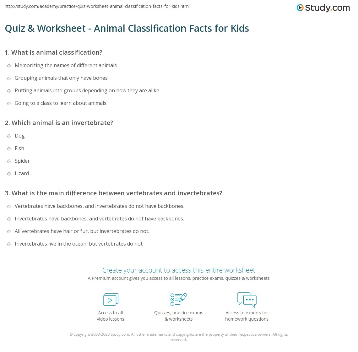 Worksheets Animal Classification Worksheet quiz worksheet animal classification facts for kids study com print lesson worksheet