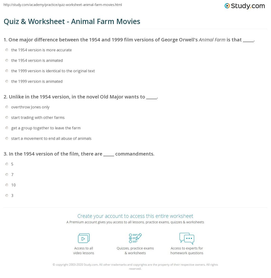 Quiz Worksheet Animal Farm Movies – Movie Worksheets