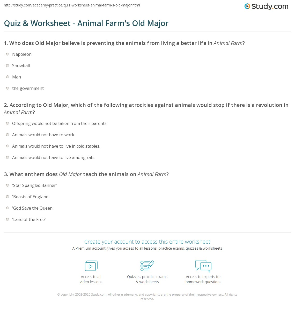 Quiz & Worksheet - Animal Farm's Old Major | Study com