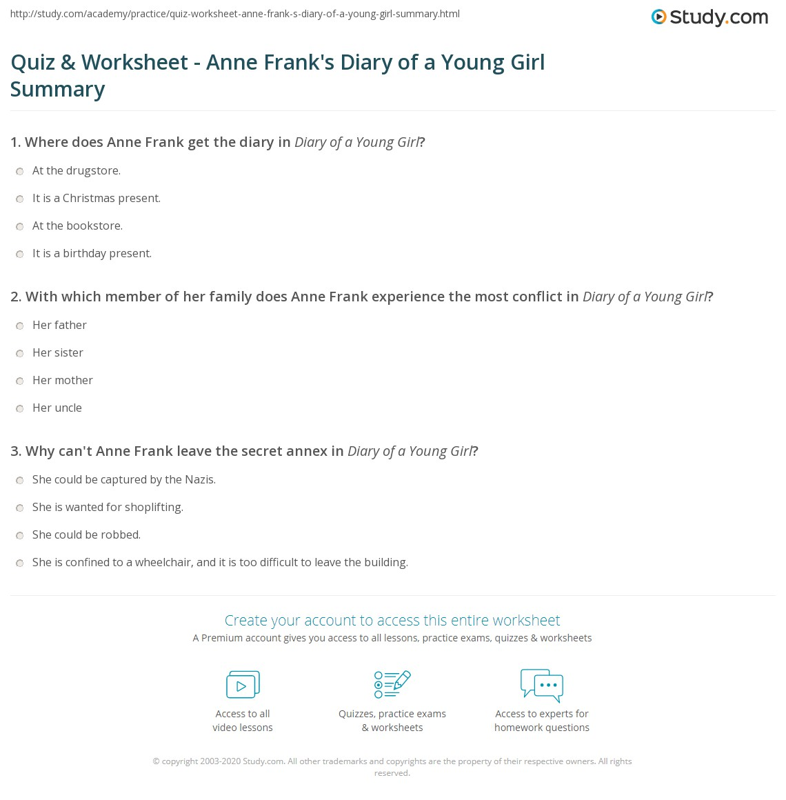 worksheet Summary Worksheet quiz worksheet anne franks diary of a young girl summary print worksheet