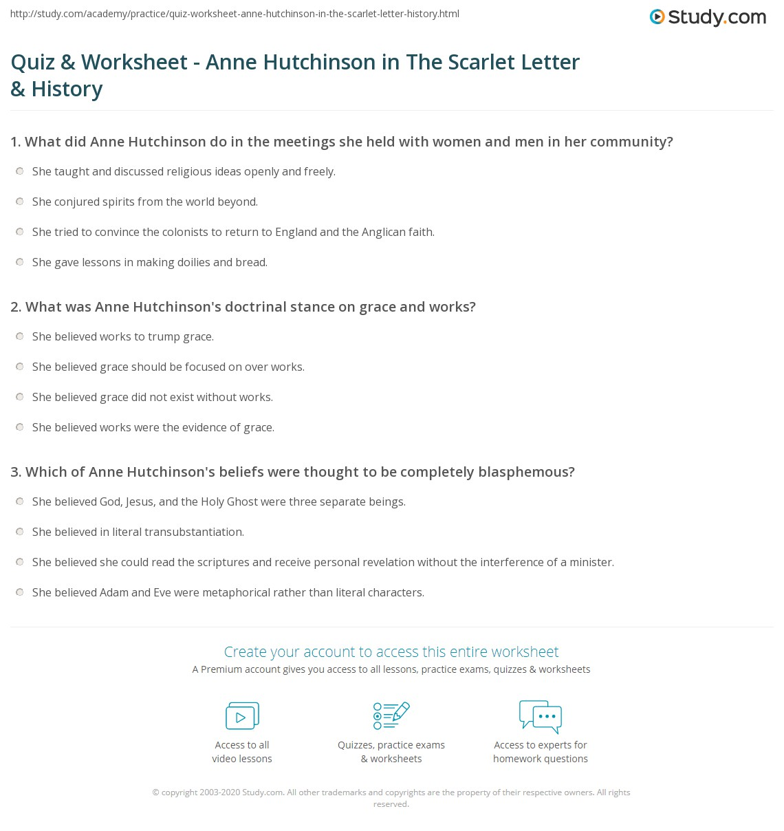 Quiz & Worksheet   Anne Hutchinson in The Scarlet Letter & History