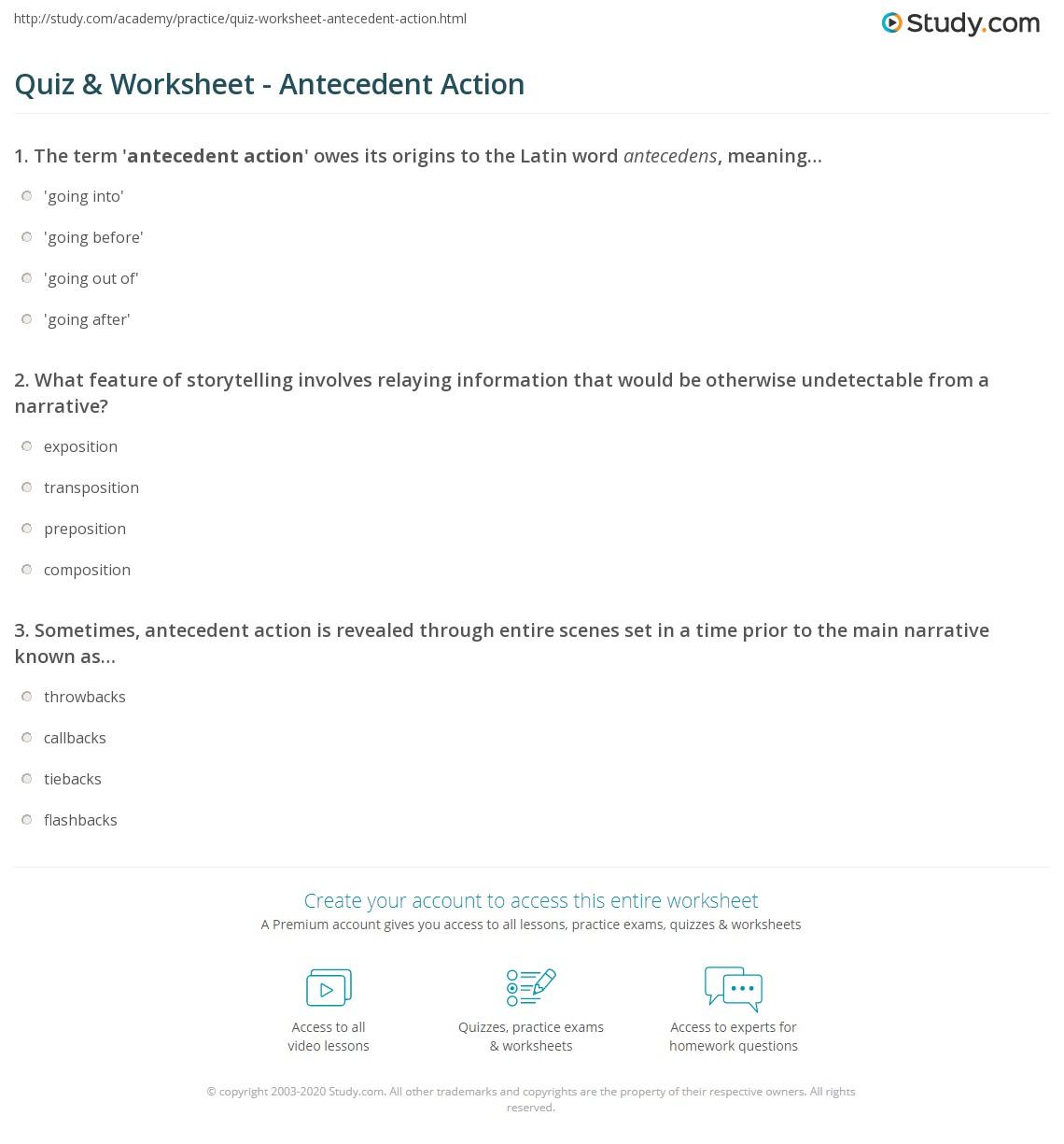 Quiz Worksheet Antecedent Action – Antecedent Worksheets