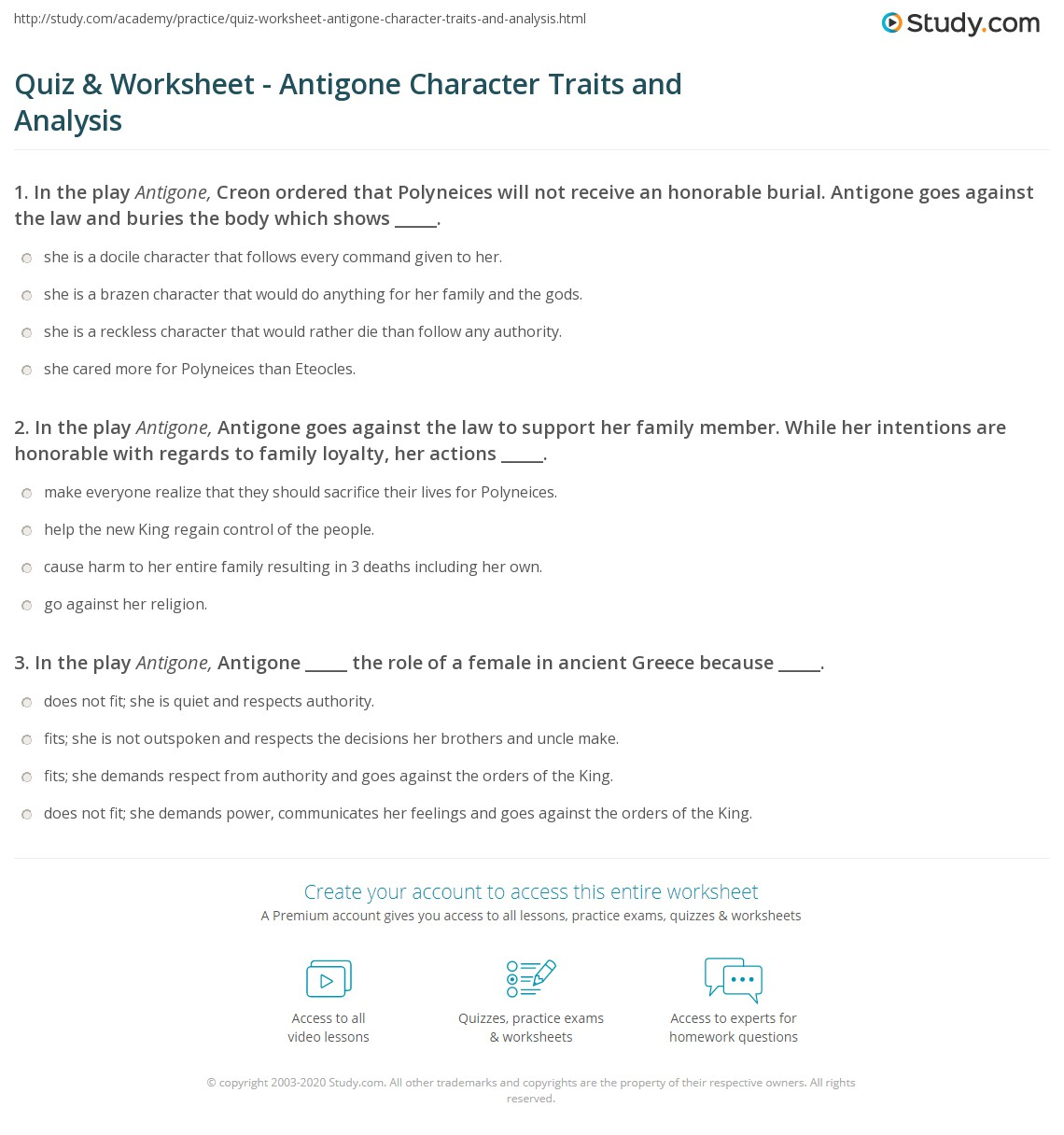 Quiz & Worksheet - Antigone Character Traits and Analysis | Study.com