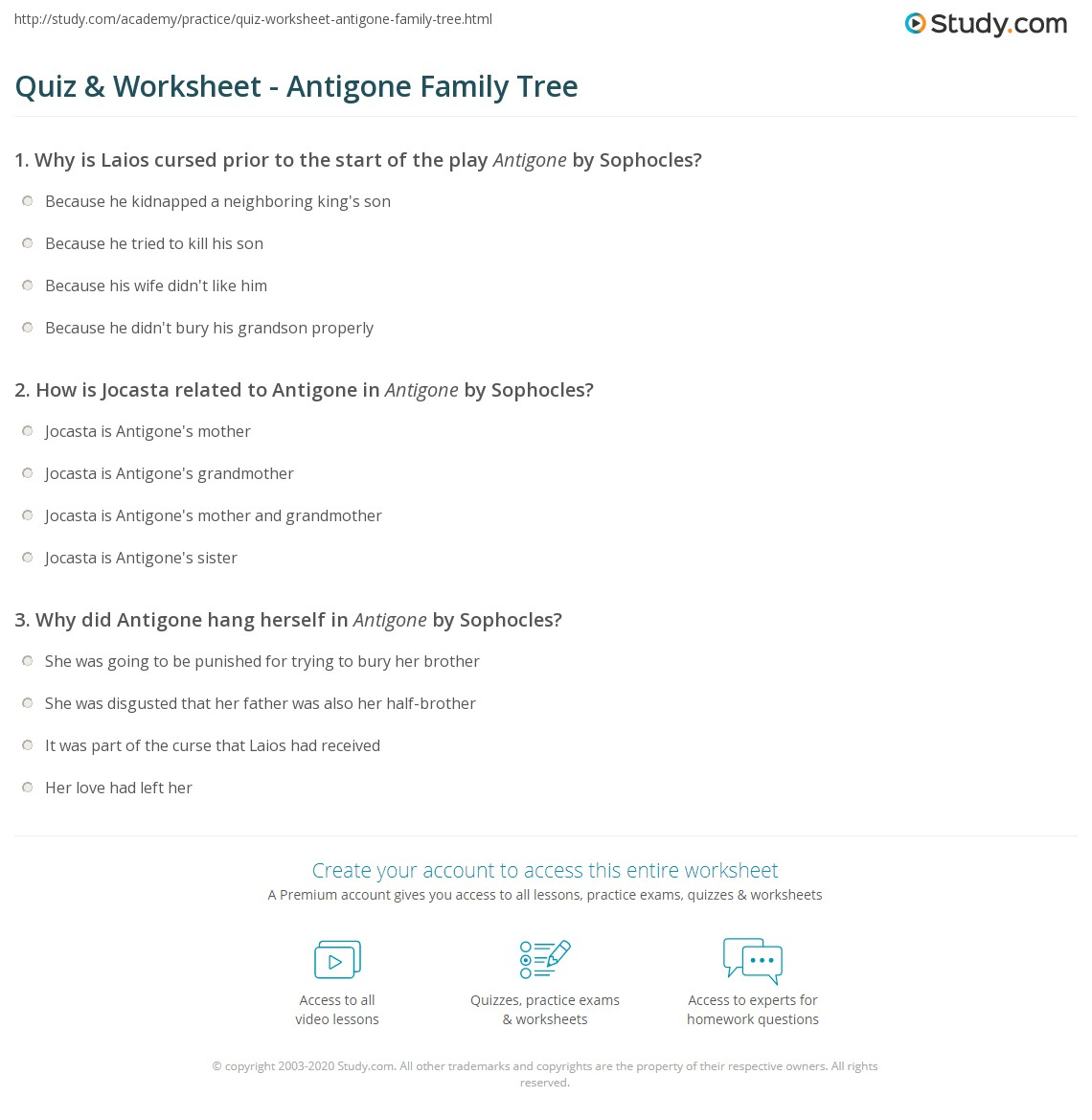 Quiz Worksheet Antigone Family Tree – Family Tree Worksheet