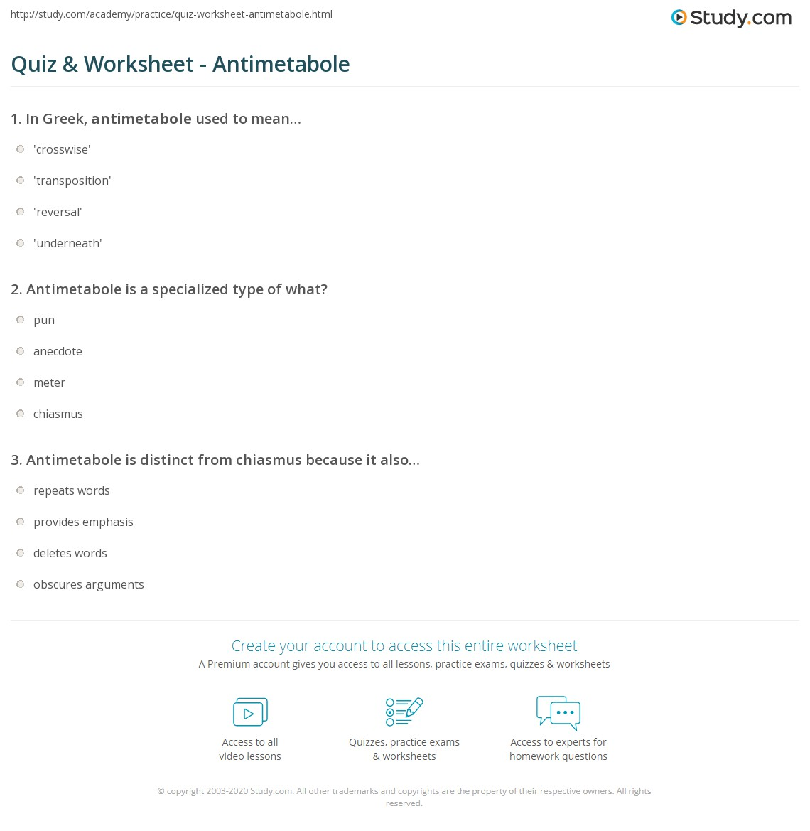 Quiz Worksheet Antimetabole Study