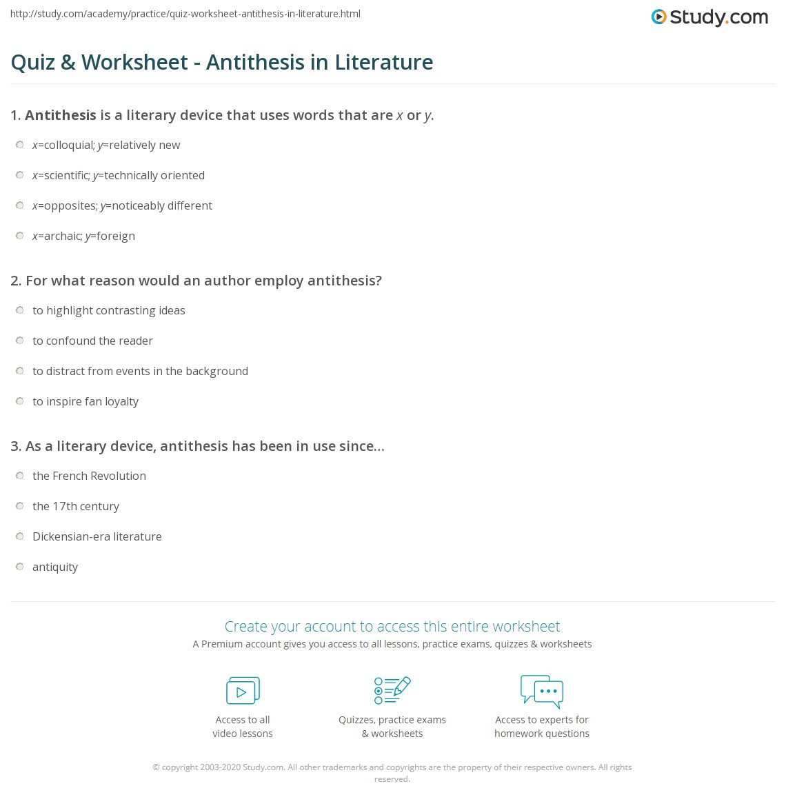 Quiz Worksheet Antithesis In Literature Study
